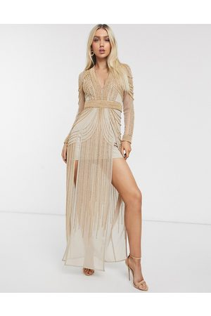 ASOS Mulher Vestidos de Festa - Pearl embellished maxi dress with thigh high splits-Pink