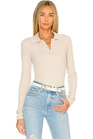 Pam & Gela Mulher Tops de Cavas - Polo Top in - Neutral. Size L (also in XS, S, M).