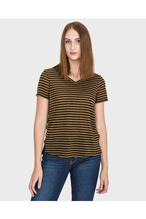 Scotch&Soda Mulher T-shirts & Manga Curta - T-shirt Black Gold
