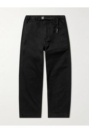 Manastash Homem Calças Justas - Tapered Cropped Belted Stretch-Cotton Twill Trousers