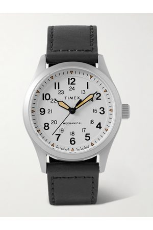 Timex Homem Relógios - Expedition North 38mm Hand-Wound Stainless Steel and Leather Watch