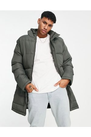 French Connection Longline padded parka with hood in khaki-Green