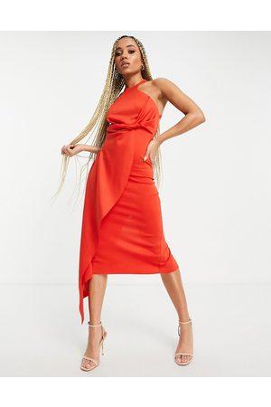 ASOS Mulher Vestidos de Festa - Racer neck open back midi dress with drape detail in red