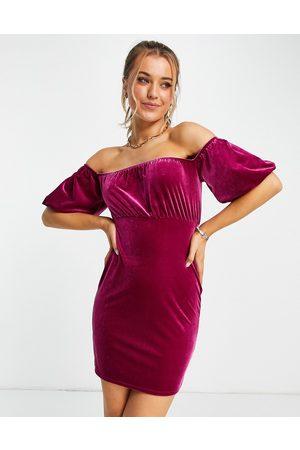 Miss Selfridge Mulher Vestidos de Festa - Velvet bardot mini dress in pink