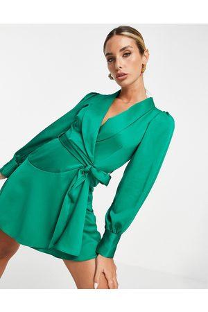 Closet Mulher Vestidos de Festa - Wrap tie mini dress in emerald green