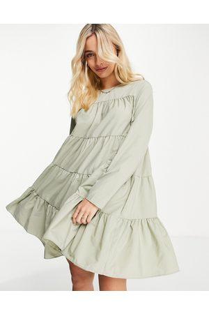 ASOS Cotton poplin tiered long sleeve mini smock dress in khaki-Green