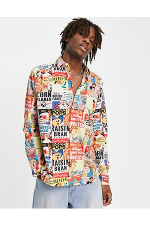 ASOS Kelloggs relaxed shirt in vintage cereal box print-Multi