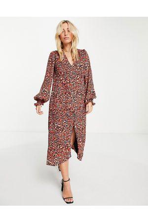 In The Style Mulher Vestidos Estampados - X Olivia Bowen v neck button through midi dress in red animal print-Multi