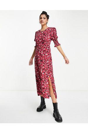 Nobody's Child Mulher Vestidos de Festa - Luna heart print puff sleeve midi dress in red