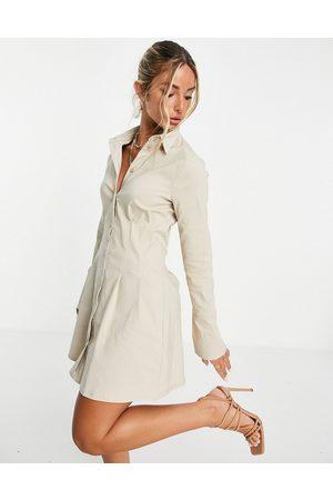 ASOS Mulher Vestidos Casual - Long sleeve mini corset detail shirt dress in stone-Neutral