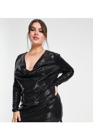 Flounce London Mulher Vestidos de Festa - Sequin cowl neck mini dress in black-Green