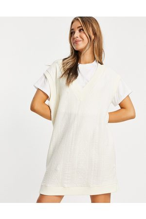 ASOS 2 in 1 cable knit jumper dress in cream and white