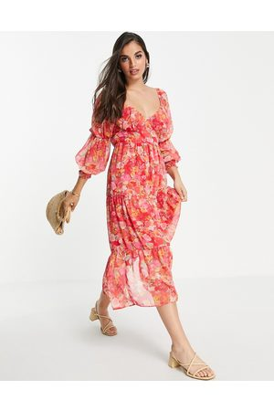Miss Selfridge Tie front chiffon midaxi dress in hand painted floral-Red