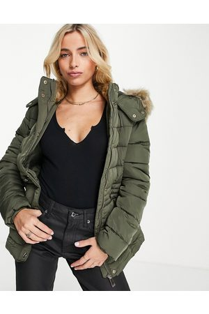 New Look Mulher Casacos de Inverno - Padded coat with faux fur trim in khaki-Green