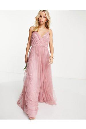 ASOS DESIGN Mulher Vestidos de Festa - Bridesmaid cami pleated tulle maxi dress in rose-Pink