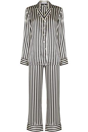 Olivia von Halle Stripe print silk pajama set