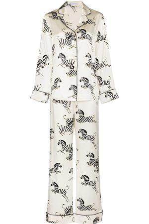 Olivia von Halle Mulher Pijamas - Zebra print silk pajama set