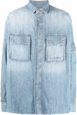 Balmain Denim flap-pocket shirt