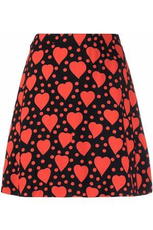 Saint Laurent Mulher Saias Estampadas - Heart-print mini skirt