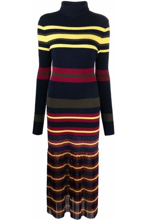 Serafini Mulher Vestidos Casual - Striped knitted pleated dress