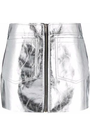 Saint Laurent Metallic-effect zip-fastening skirt