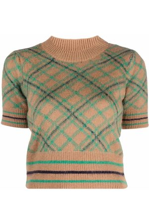 Pinko Intarsia-knit short-sleeve top