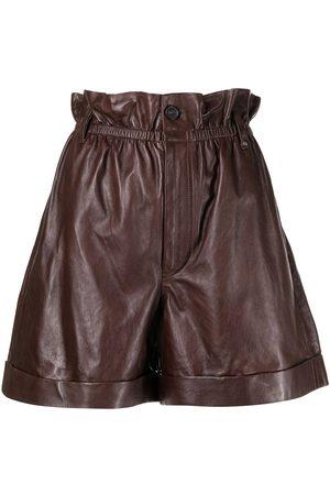 Polo Ralph Lauren Paperbag-waist leather shorts
