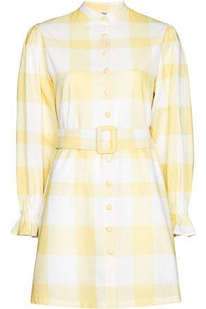 Ambra Maddalena Sammi gingham long-sleeve minidress