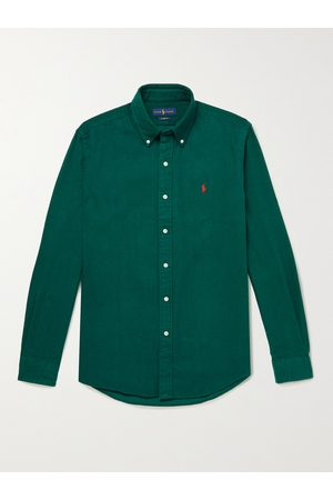 Polo Ralph Lauren Button-Down Collar Logo-Embroidered Brushed Cotton-Flannel Shirt