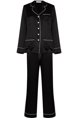 Olivia von Halle Mulher Pijamas - Contrast trim silk pajama set