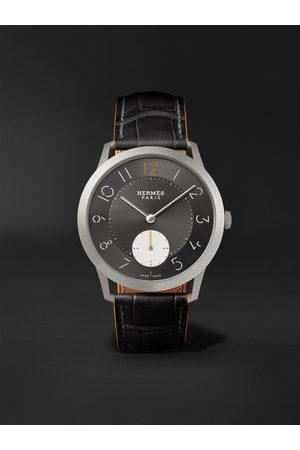 Hermès Slim Titane Automatic 39.5 Titanium and Alligator Watch, Ref. No. W047365WW00