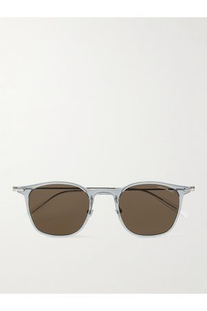 Montblanc Homem Óculos de Sol - Round-Frame Acetate and Silver-Tone Sunglasses