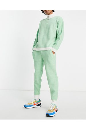 ASOS Plated rib co-ord joggers in sage green
