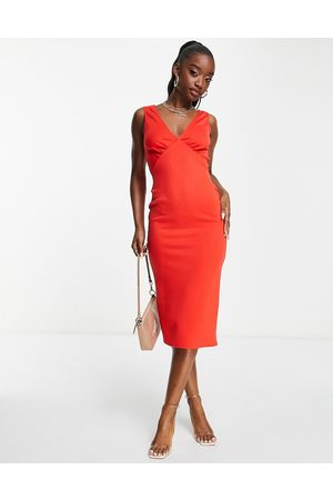 ASOS Button back midi dress in hot red-Green