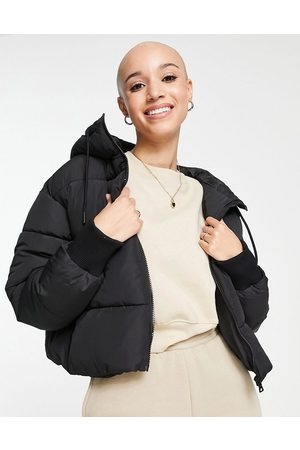 Monki Amber recycled short padded jacket with hood in black