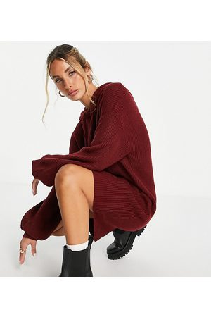 M Lounge Oversized knitted hoodie dress-Red