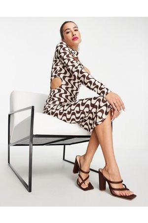 ASOS One sleeve cut out detail midi dress in brown and cream squiggle print