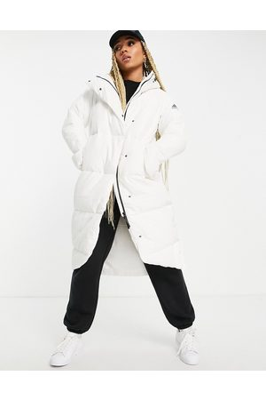 adidas Adidas Outdoor longline down puffer jacket in white