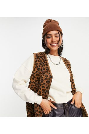 Native Youth Mulher Coletes - Oversized gilet in brushed leopard print-Brown