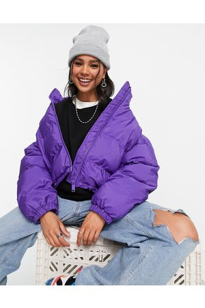 Weekday Promis recycled polyester short padded jacket in bright purple