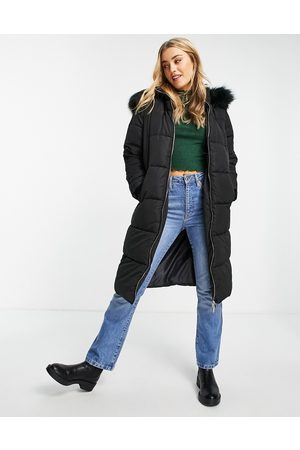 Miss Selfridge Mulher Casacos - Longline maxi puffer coat in black