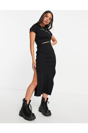 The Ragged Priest Mulher Vestidos Casual - Midi dress in rib with zip detail-Black