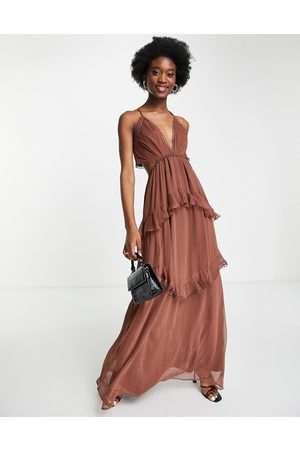 ASOS Cami maxi dress with open back and circle trim in chocolate-Brown
