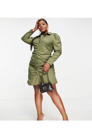 Missguided Ruched shirt mini dress in khaki-Green