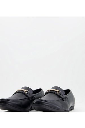 Truffle Collection Homem Oxford & Moccassins - Wide fit snaffle trim loafers in black faux leather