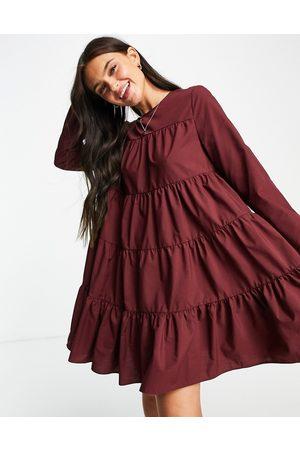 ASOS Cotton poplin tiered long sleeve mini smock dress in oxblood