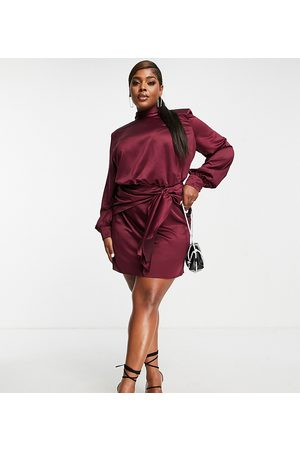 ASOS ASOS DESIGN Curve high neck mini dress with sash waist detail in wine-Red