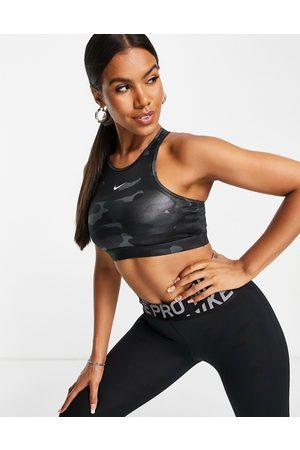 Nike One Dri-Fit high shine camo medium support sports bra in grey