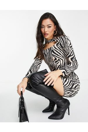 I saw it first Ribbed mini dress with cut out detail in zebra print-Multi