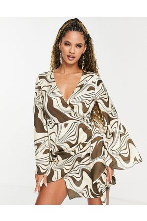 ASOS Wrap mini dress in marble print with flare sleeve-Multi